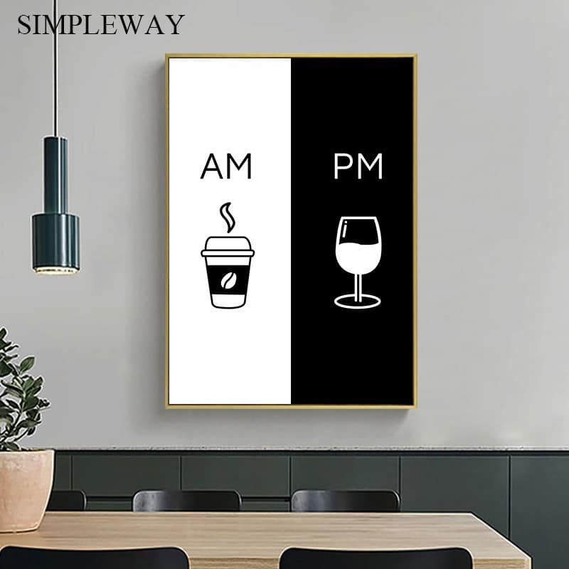 Coffee Wine Black White Poster And Print Simplicity Wall Art Canvas Painting Minimalist Picture Kitchen Dining Room Decoration Wallcorners Decor Your Home Life